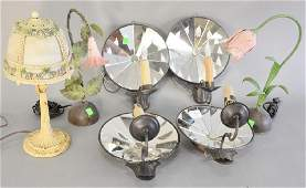 Nine piece lamp lot to include two pairs of mirrored