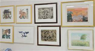 Group of fifteen framed contemporary
