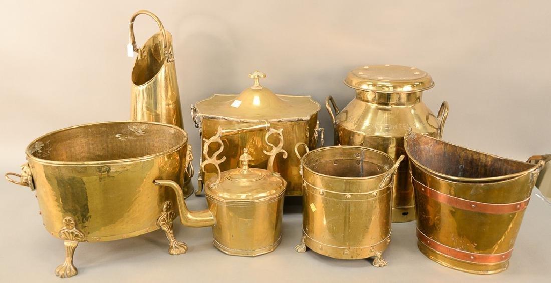 Seven piece brass lot to include milk can, tea pot,