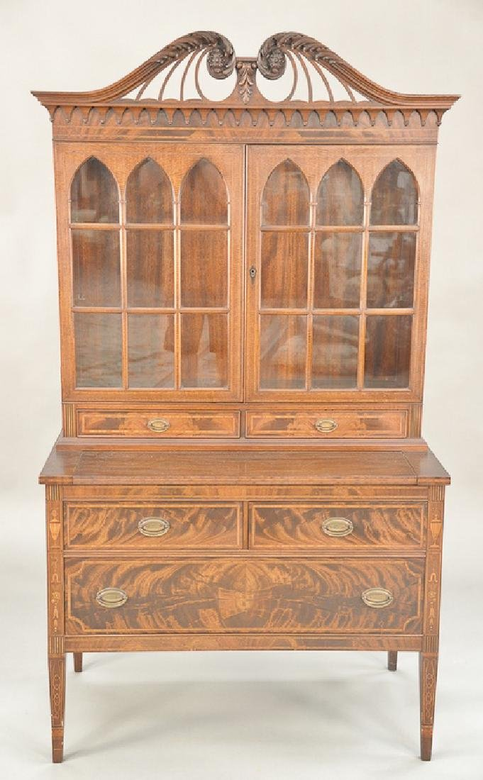 Mahogany Federal style secretary desk with pull out