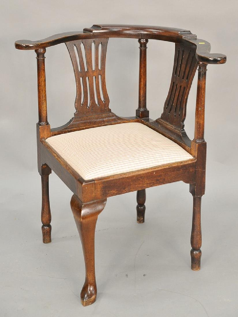 George III style mahogany corner desk chair with