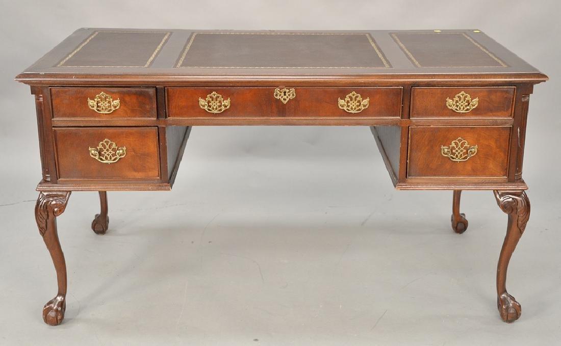 Mahogany Chippendale style executive desk having three