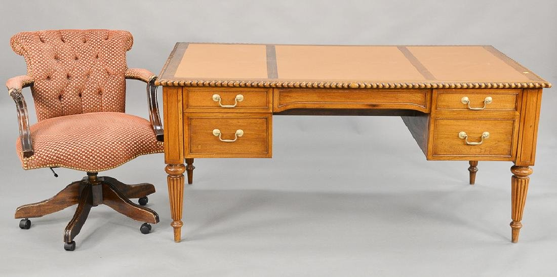 Victorian style mahogany desk, leather inset top above