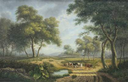 Contemporary oil board landscape country road with