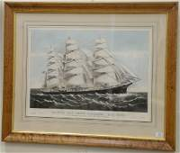 Currier and Ives colored lithograph Clipper Ship