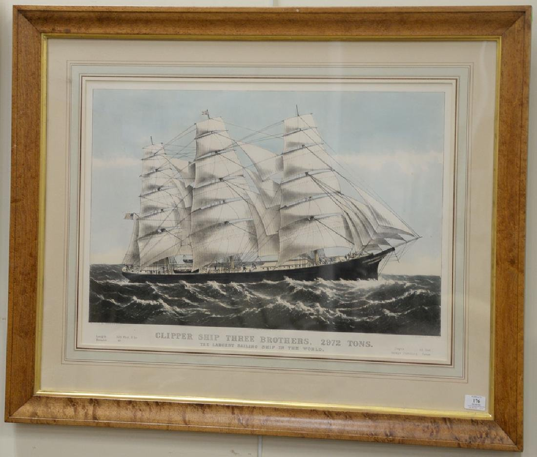 """Currier and Ives, colored lithograph, """"Clipper Ship"""