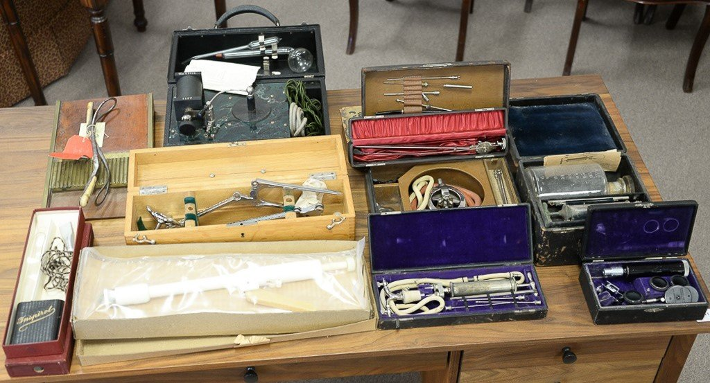 Large group of surgical and medical instruments and