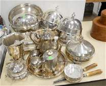 Silver plated lot with revolving tureen, large entre