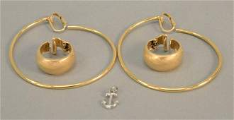Two pairs of 14K gold earrings clip on 229 gr