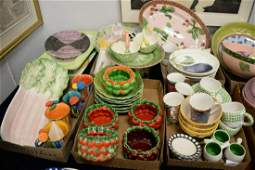 Six tray lots of pottery, hand painted pottery, and