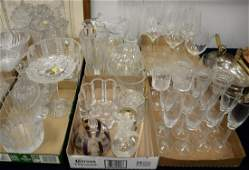 Six tray lots of crystal and glass to include cut glass