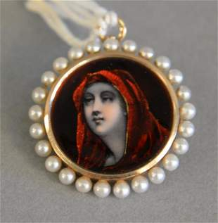 Gold and enameled pendant/brooch with portrait of woman