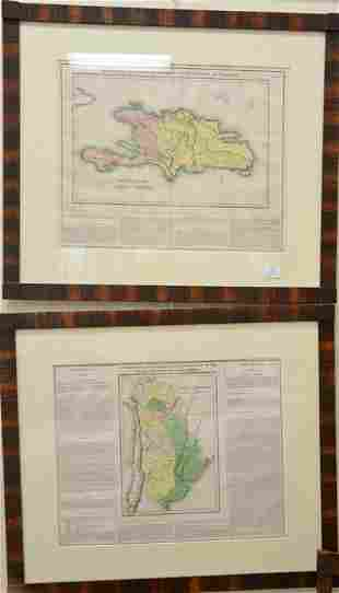 Set of four colored engraved maps geographical