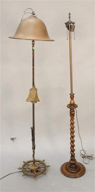 Two floor lamps one adjustable oak one brass and