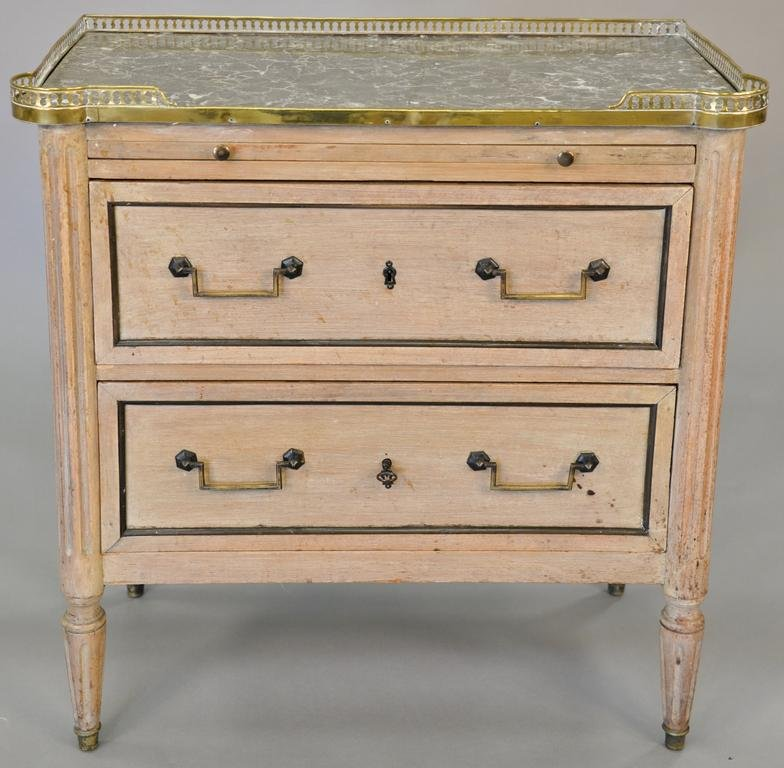 Louis XVI style bleached mahogany commode, variegated