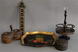 Assorted group to include three painted tole pieces