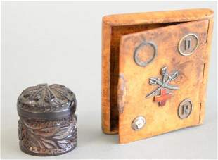 Two small boxes to include burl cigarette or card case