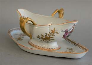 Porcelain sauce dish with attached underplate with coat