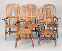 Assembled set of English Windsor arm chairs seat ht