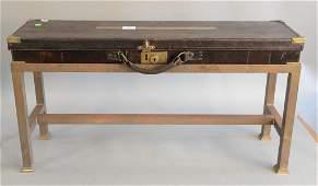 Brass mounted leather rectangular shotgun case