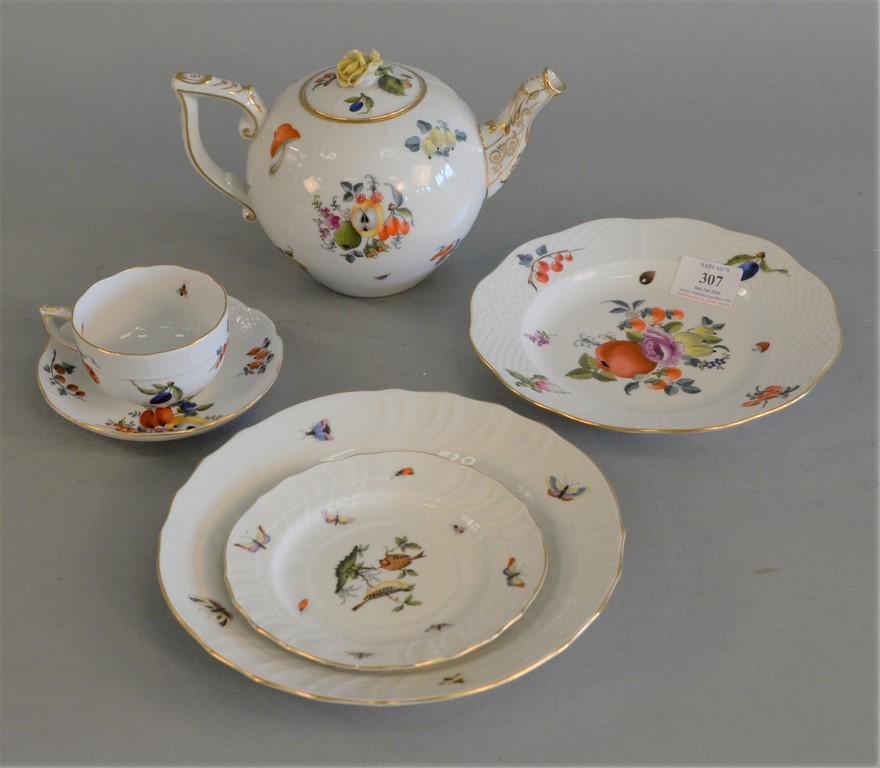 Forty two piece Herend porcelain set Meissen style with