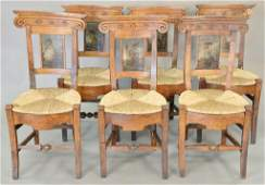 Set of six North Italian side chairs walnut and