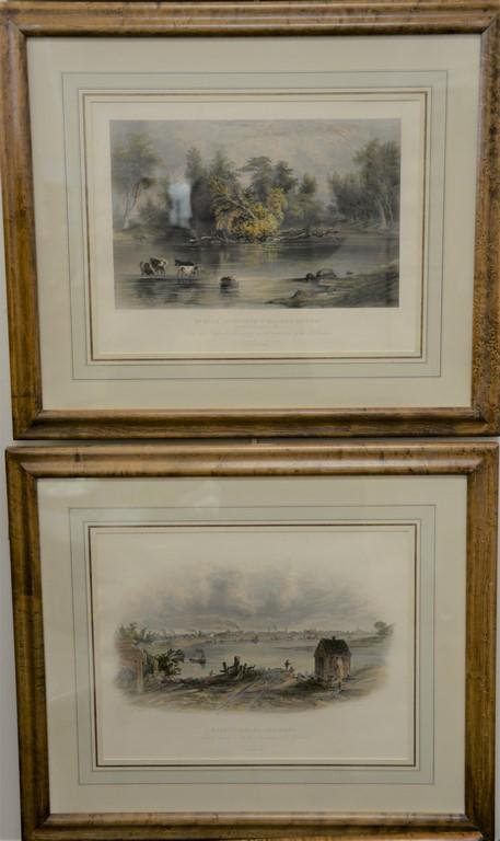 Set of four colored etching, William Pate, New York, to