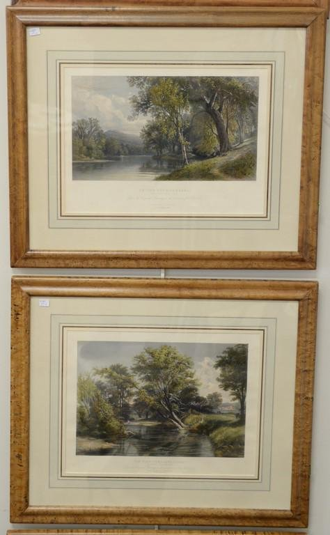 Set of four colored etchings, William Pate, New York,