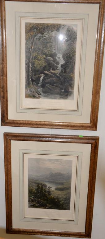 Set of three colored etching William Pate New York