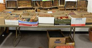 Large group of leather bound books to include