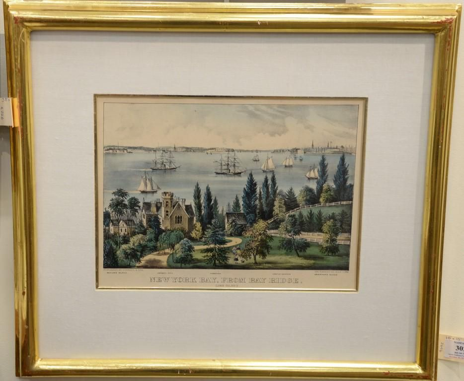 """Currier and Ives, colored lithograph, """"New York Bay,"""