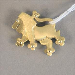 14K lion pin pendant with diamond eye, lg. 1 3/4 in.,