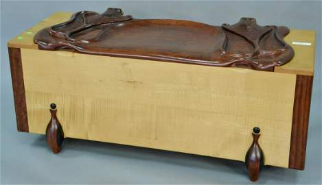 Tom Bazis carved chest with rosewood lift top, cedar