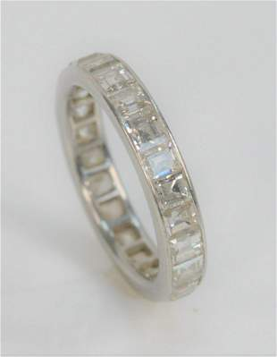 Platinum and Diamond Channel Set Ring, with square