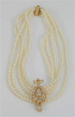 Cultured Pearl and Diamond Necklace, having five