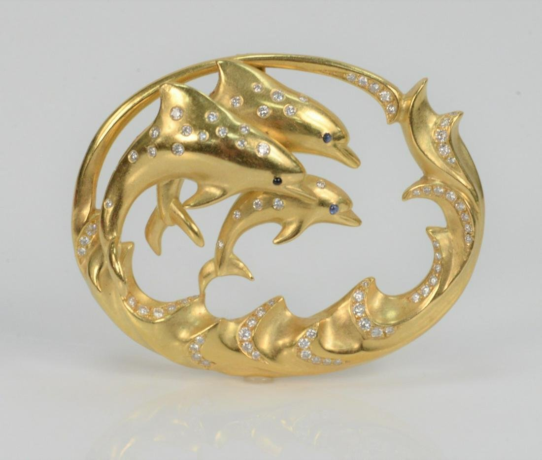 Julius Cohen 18 Karat Gold Pendant, with three jumping