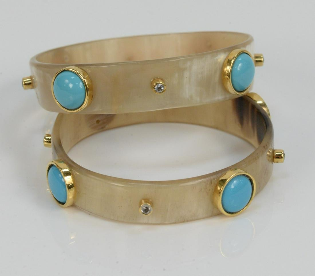Pair of Horn Bangle Bracelets Mounted with Gold, set
