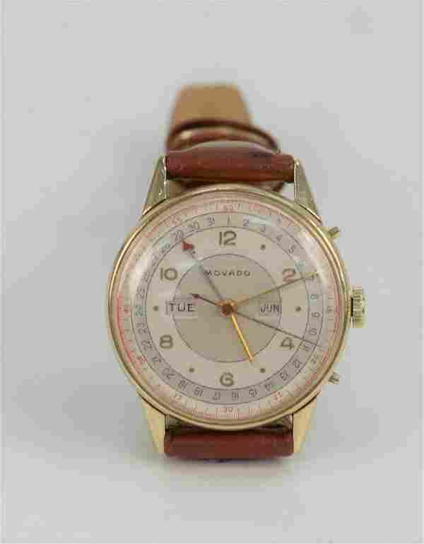 Movado Vintage 18 Karat Gold Day Date Month Mens Wristw