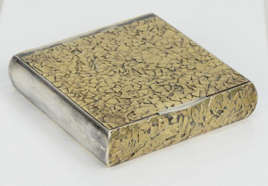 Silver and 18 Karat Gold Hinged Covered Box, mounted