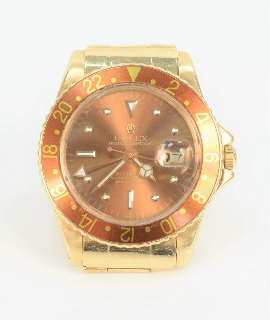 Rolex 18 Karat Gold GMT Master, with 18 karat gold