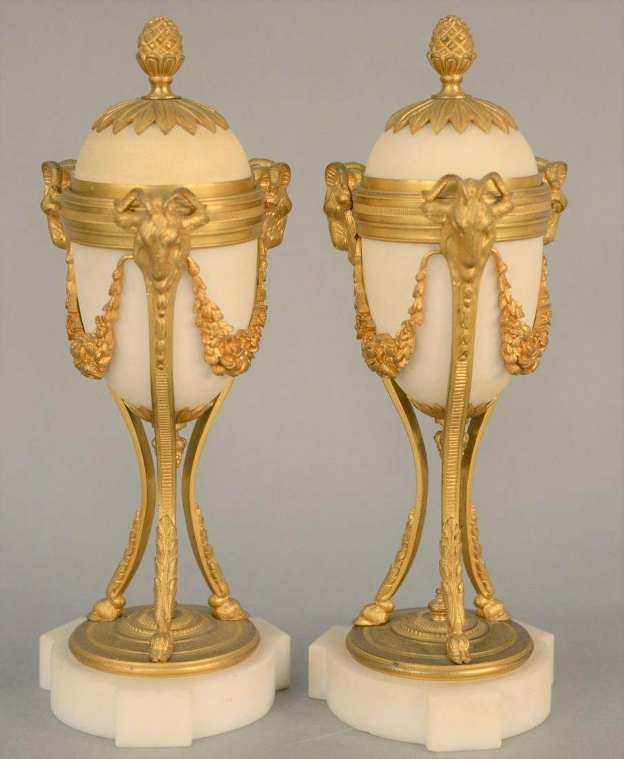 Pair of Louis XVI French Bronze Dore and White Marble