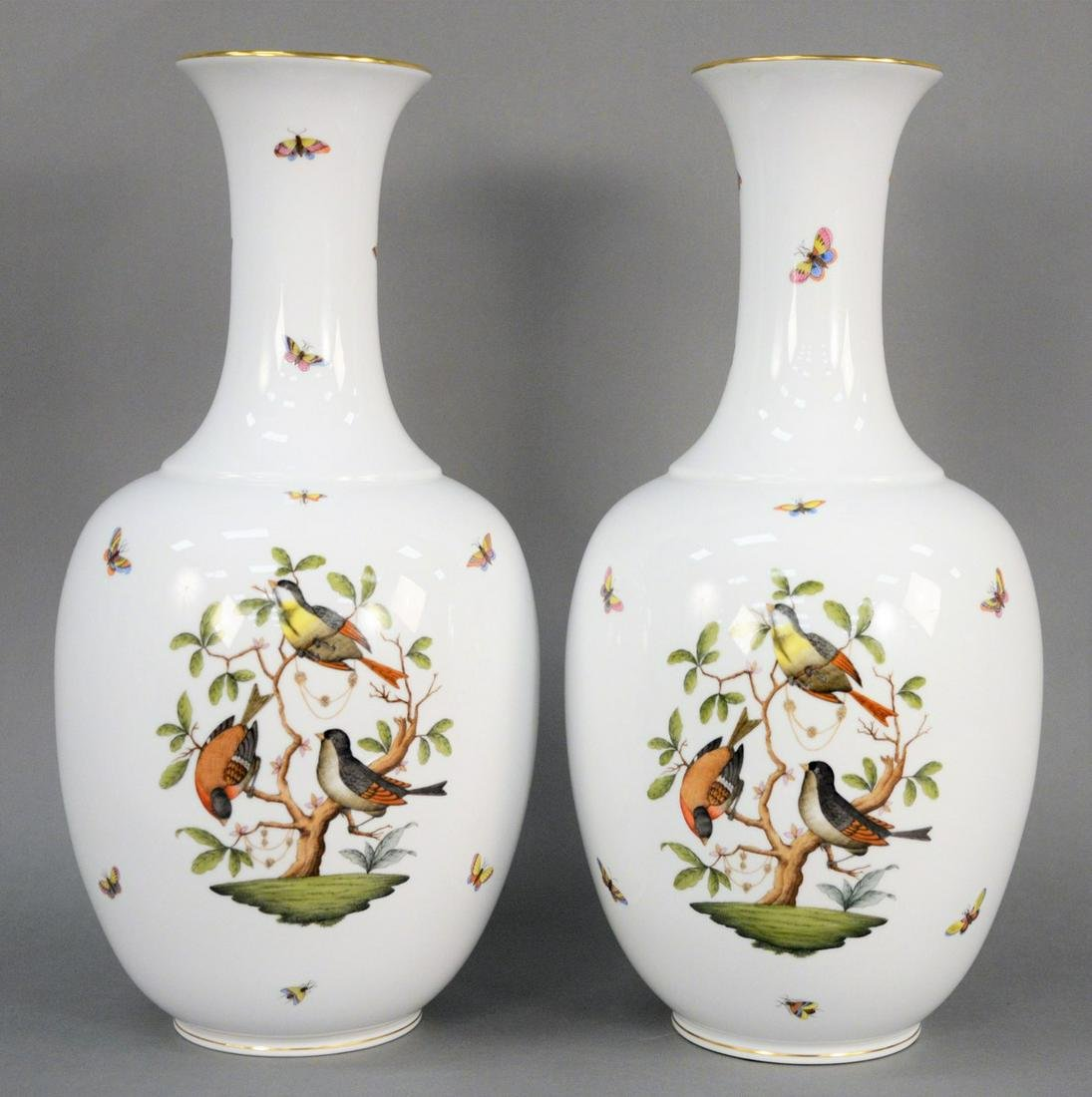 Pair of Large Herend Rothschild Bird Vases, urn form
