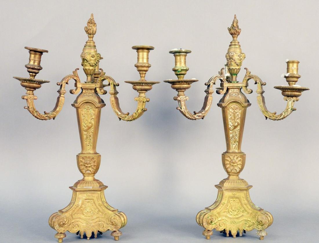 Pair of French Bronze Candelabras, four light having
