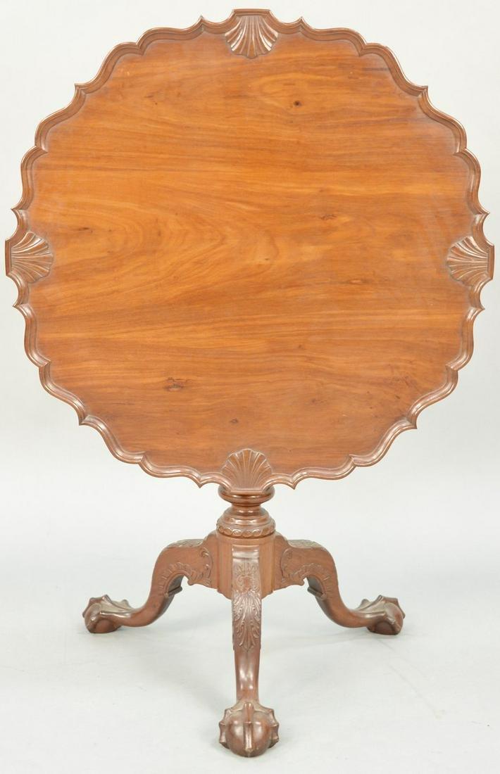 Charles Post Custom Mahogany Pie Crust Tea Table on