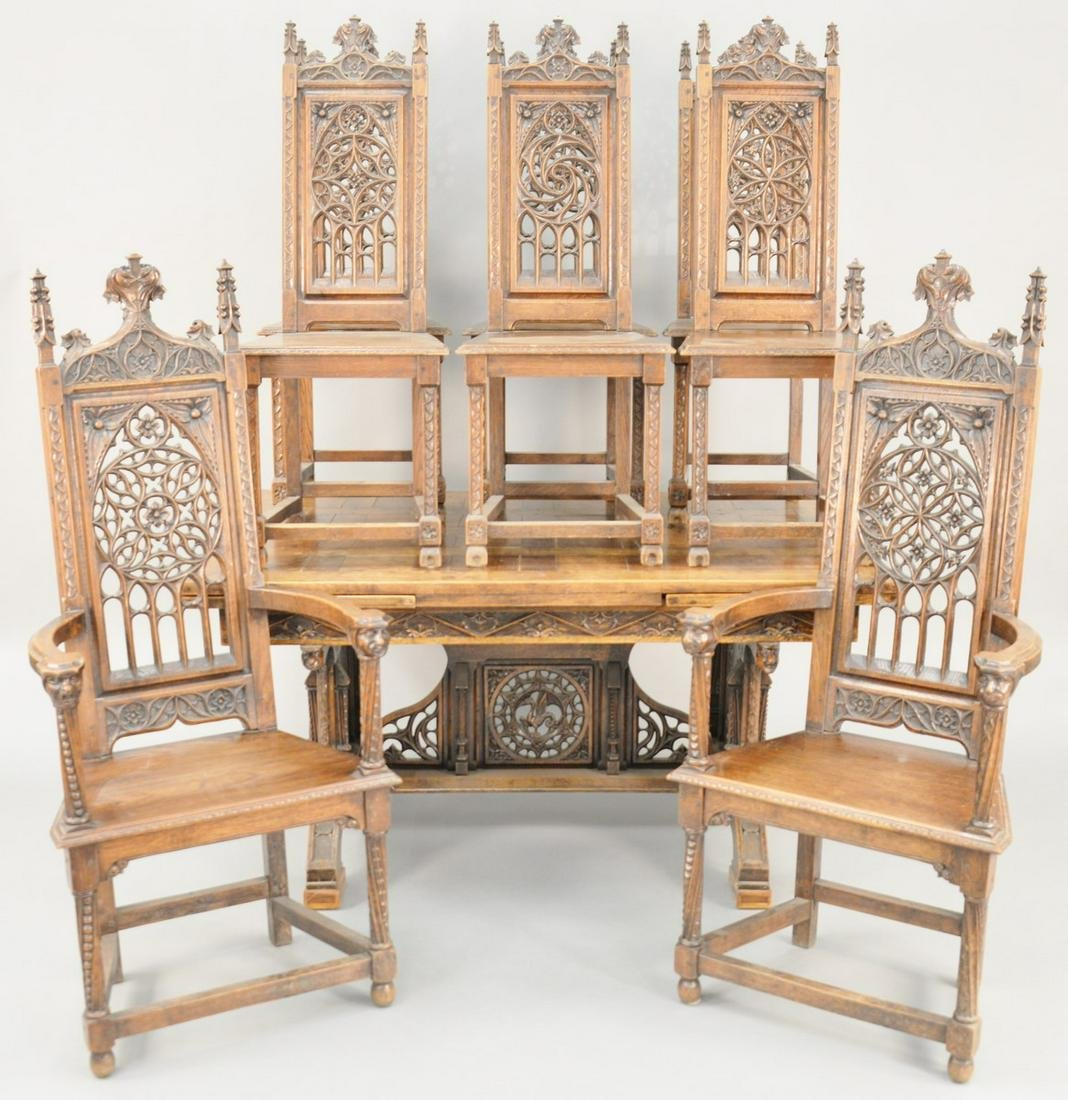 Thirteen Piece Oak Dining Set, gothic taste, to include