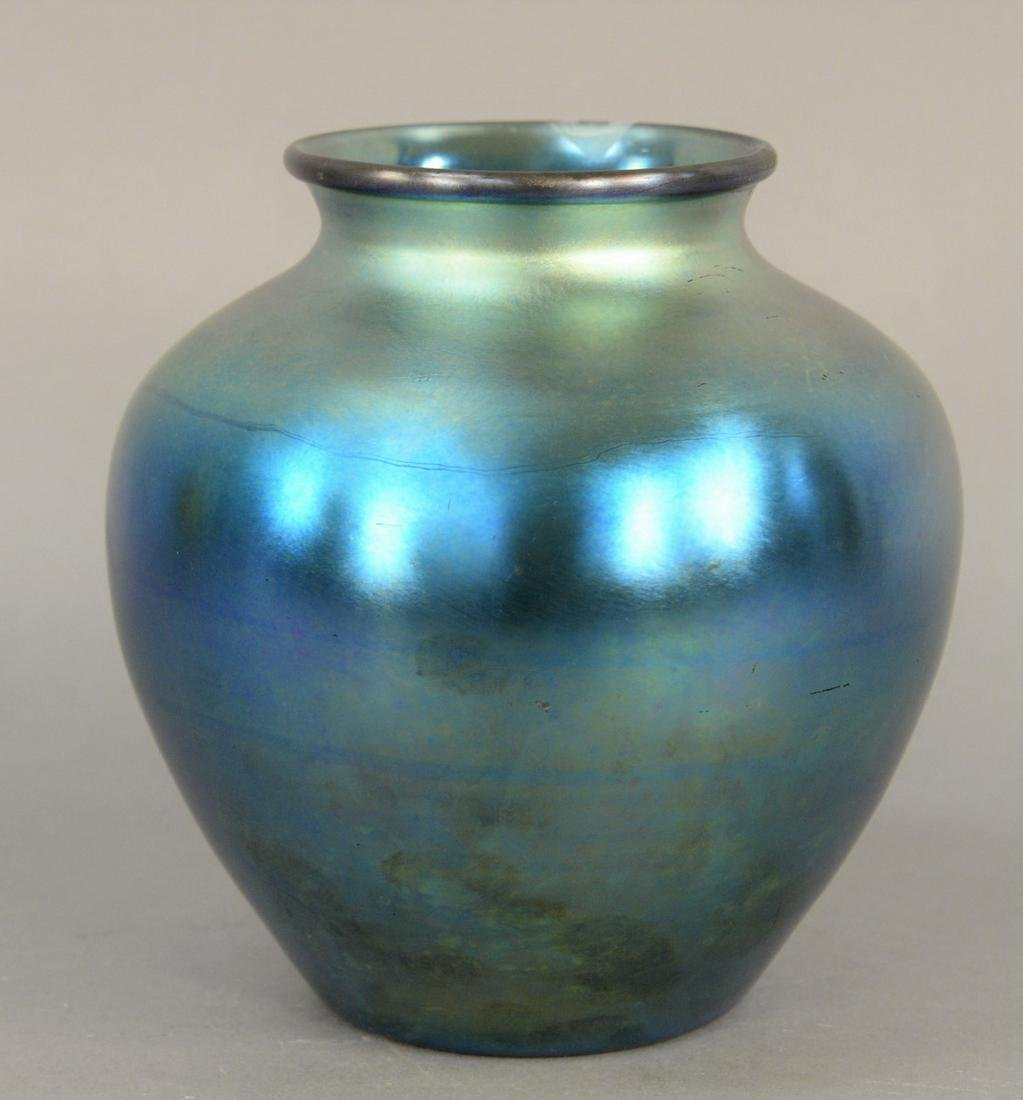 Steuben Blue Aurene Vase, bulbous shape hue iridescent,