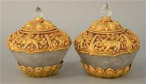 Pair of Gilt Bronze Mounted Rock Crystal Ritual Bowls