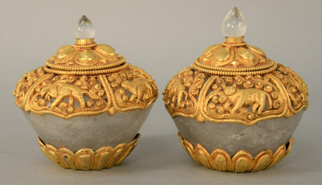 Pair of Gilt Bronze Mounted Rock Crystal Ritual Bowls