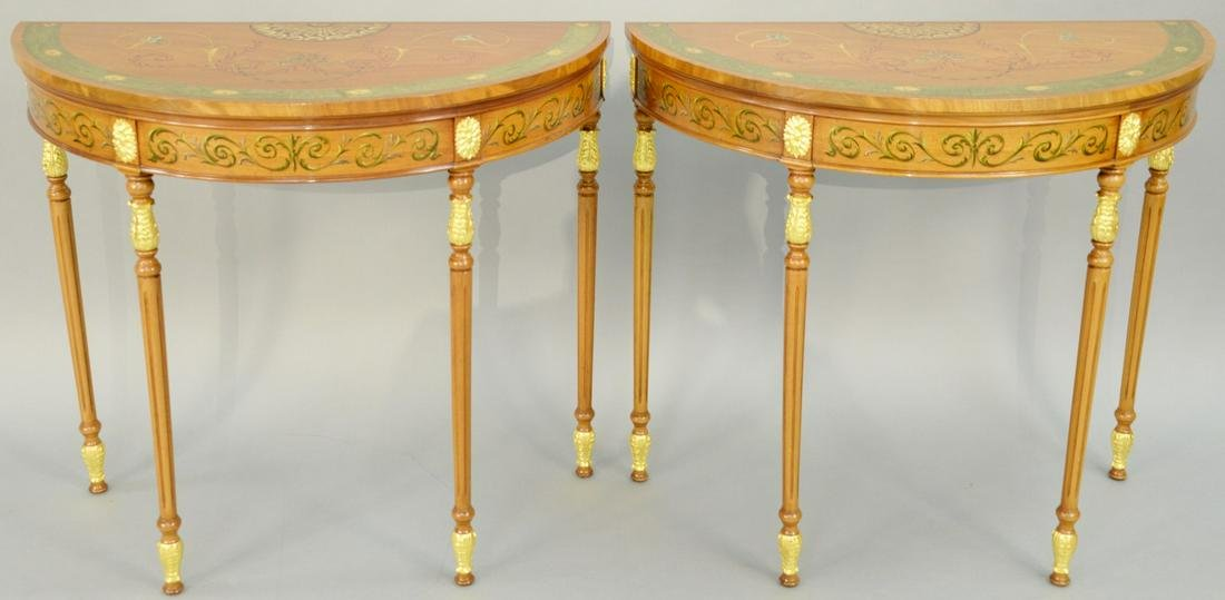 Pair of George III Style Paint Decorated and Parcel