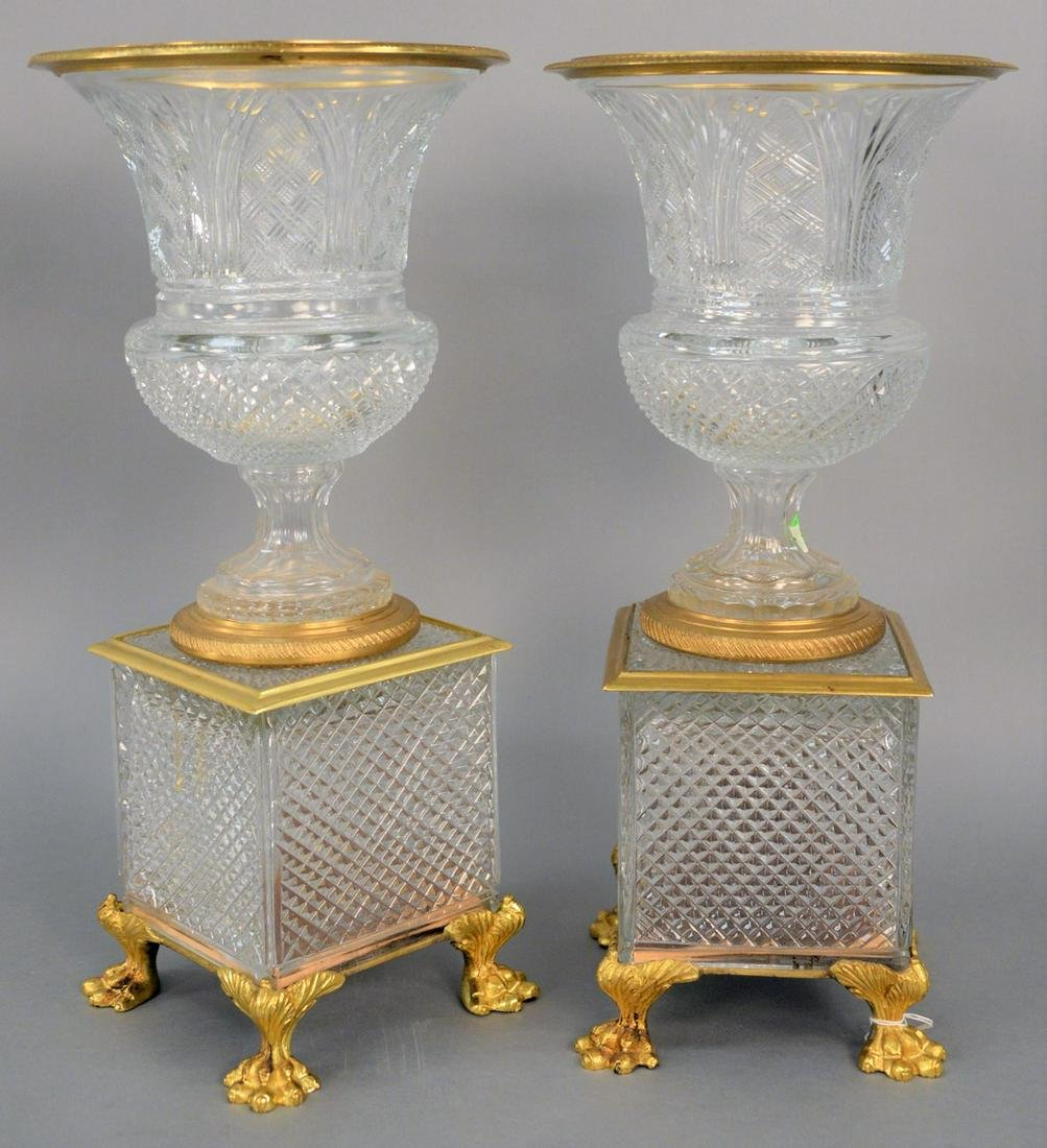 Pair of Large Cut Crystal and Bronze Dore Urns, each